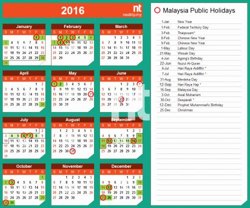 2016 Calendar Excel with Holidays New 2016 Calendar Malaysia Excel Yearly Calendar Printable
