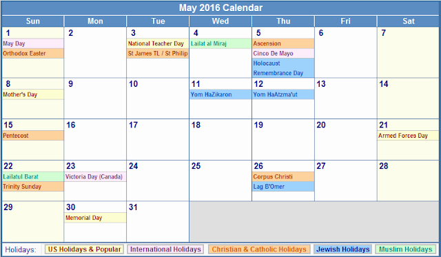 2016 Calendar Excel with Holidays New May 2016 Calendar with Holidays[usa Uk Canada]