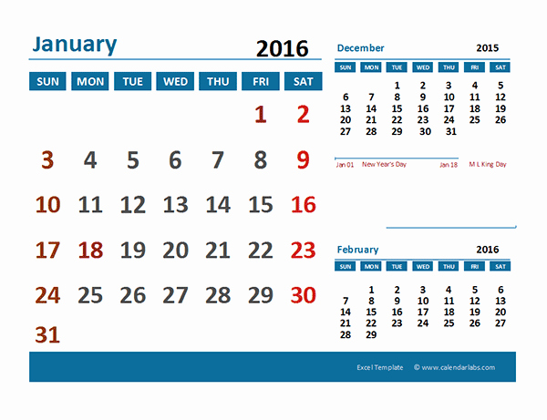 2016 Calendar Excel with Holidays Unique 2016 Excel Calendar with Holidays Free Printable Templates
