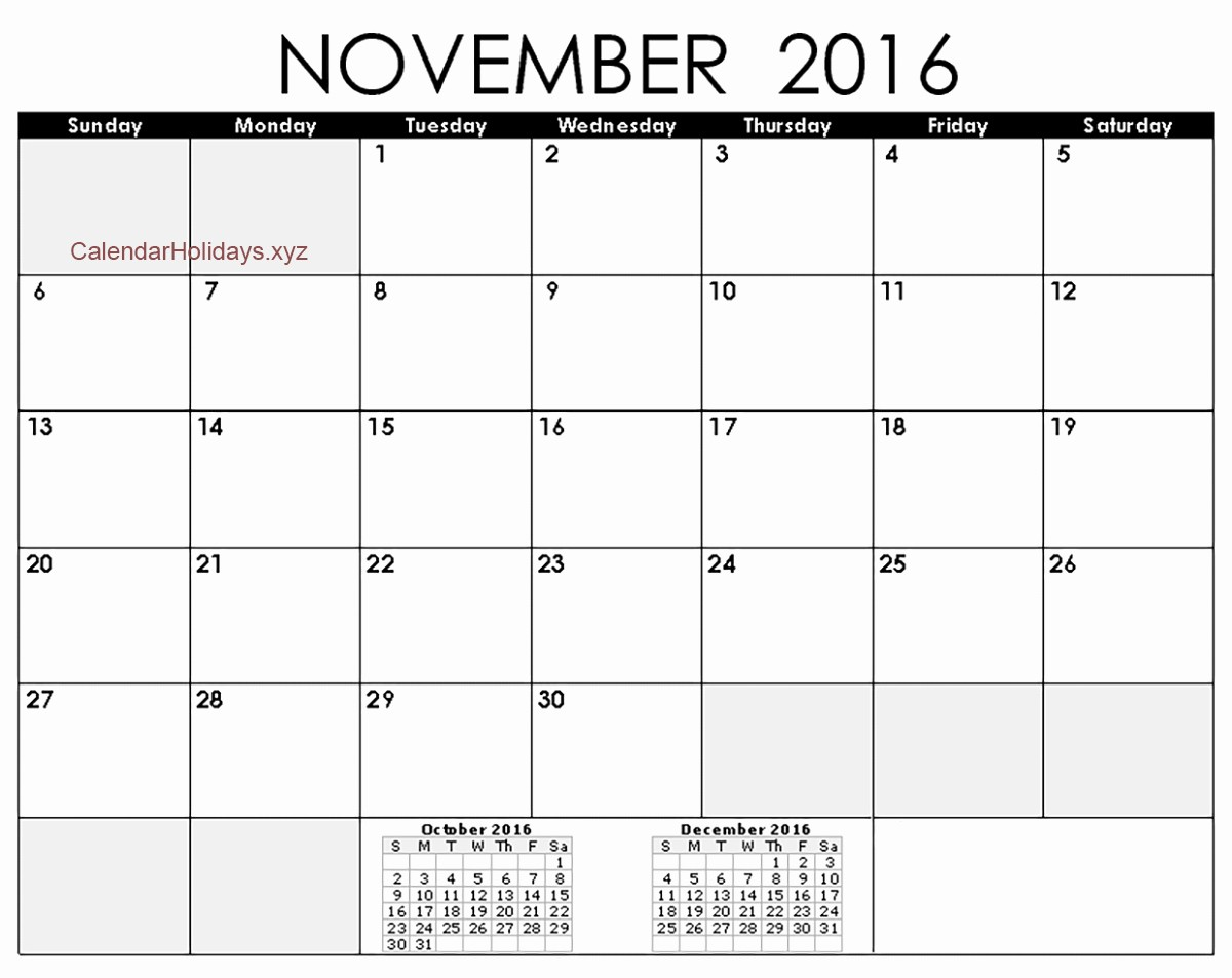 2016 Calendar Excel with Holidays Unique November 2016 Excel Calendar November2016 Excelcalendar