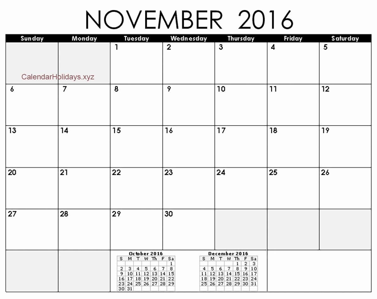 2016 Calendar Excel with Holidays Unique November 2016 Excel Calendar November2016 Excelcalendar