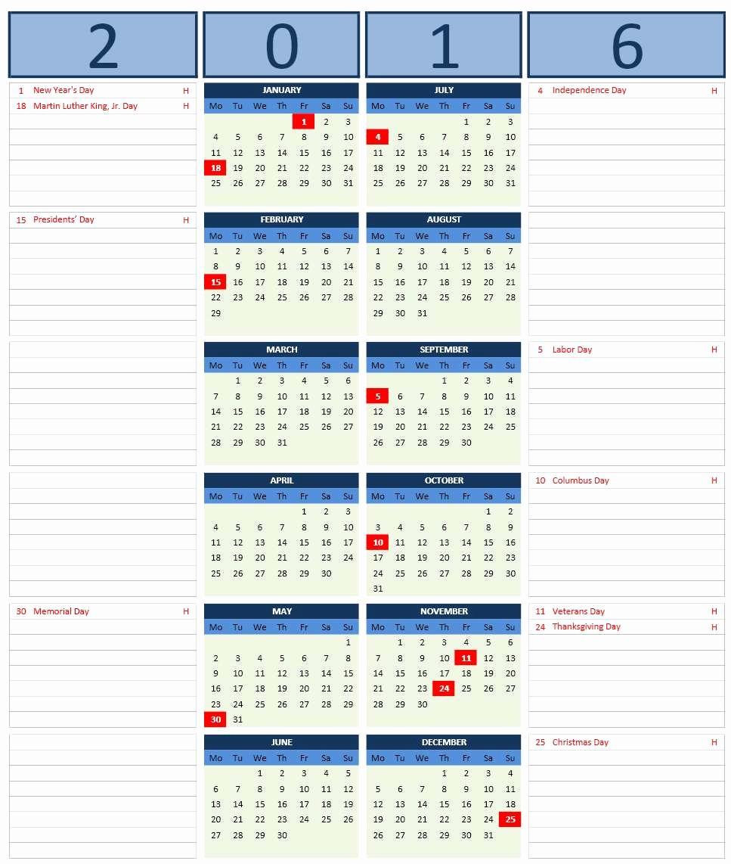 2016 Monthly Calendar Template Excel Beautiful 2016 Calendar Templates