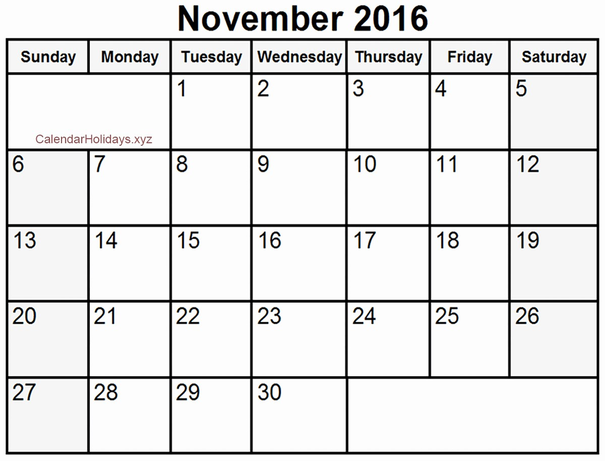 2016 Monthly Calendar Template Excel Beautiful November 2016 Excel Calendar November2016 Excelcalendar