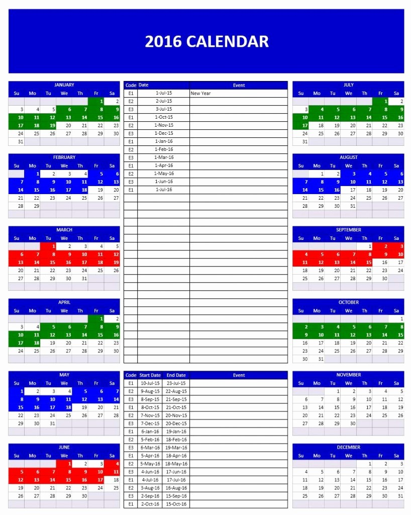 2016 Monthly Calendar Template Excel Best Of 2016 Calendars