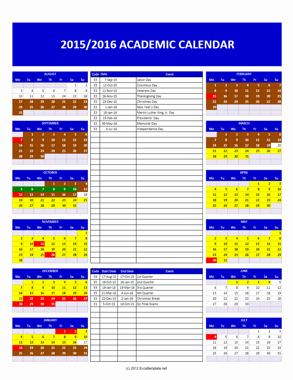 2016 Monthly Calendar Template Excel Best Of Calendar Archives