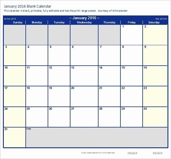2016 Monthly Calendar Template Excel Best Of Calendar Template – 41 Free Printable Word Excel Pdf