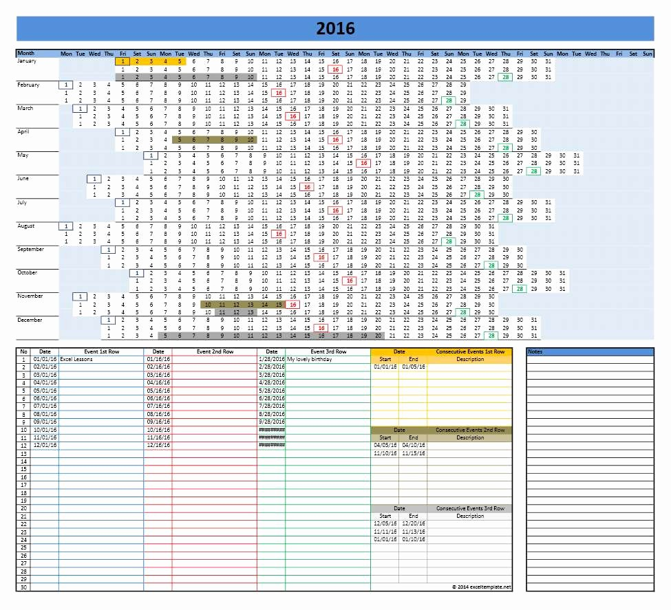 2016 Monthly Calendar Template Excel Fresh 2016 Calendar Templates