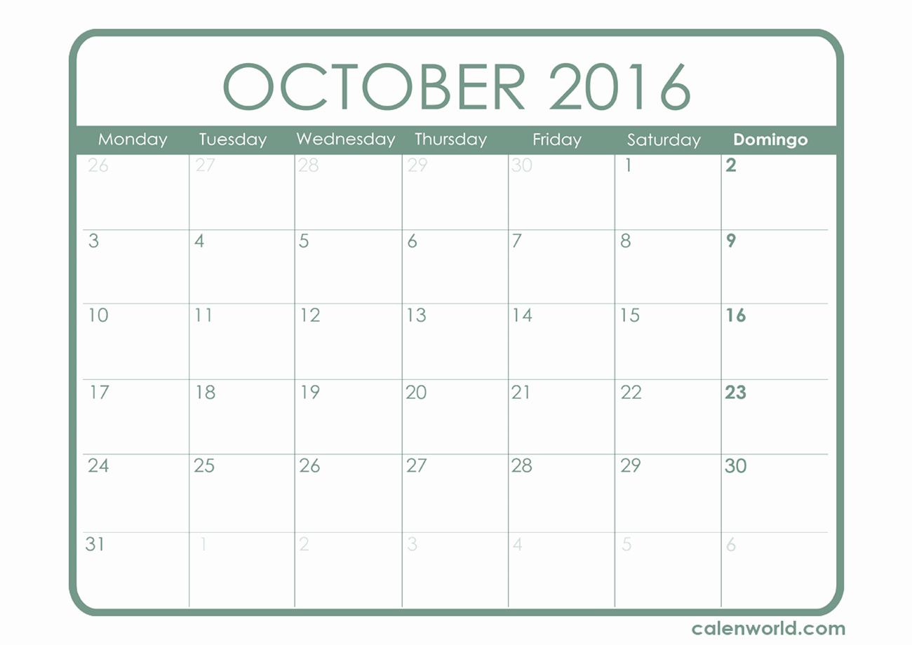 2016 Monthly Calendar Template Excel Fresh October 2016 Calendar Excel – 2017 Printable Calendar