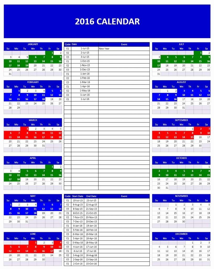 2016 Monthly Calendar Template Excel Inspirational 2016 Calendar Templates