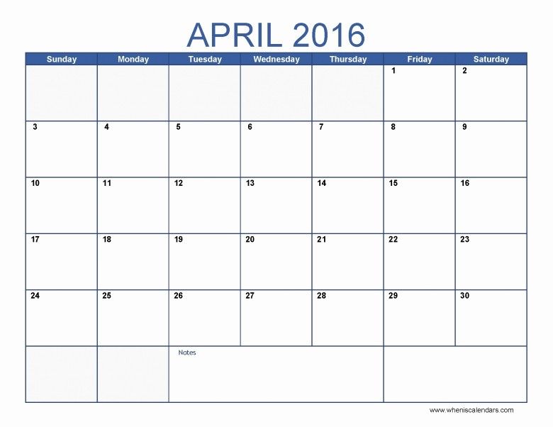 2016 Monthly Calendar Template Excel Inspirational April 2016 Monthly Calendar Free Calendar Template