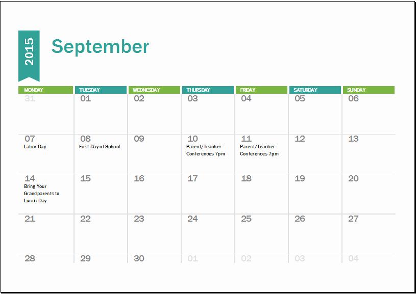 2016 Monthly Calendar Template Excel Inspirational Ms Excel Academic Calendar Template 2018 2019
