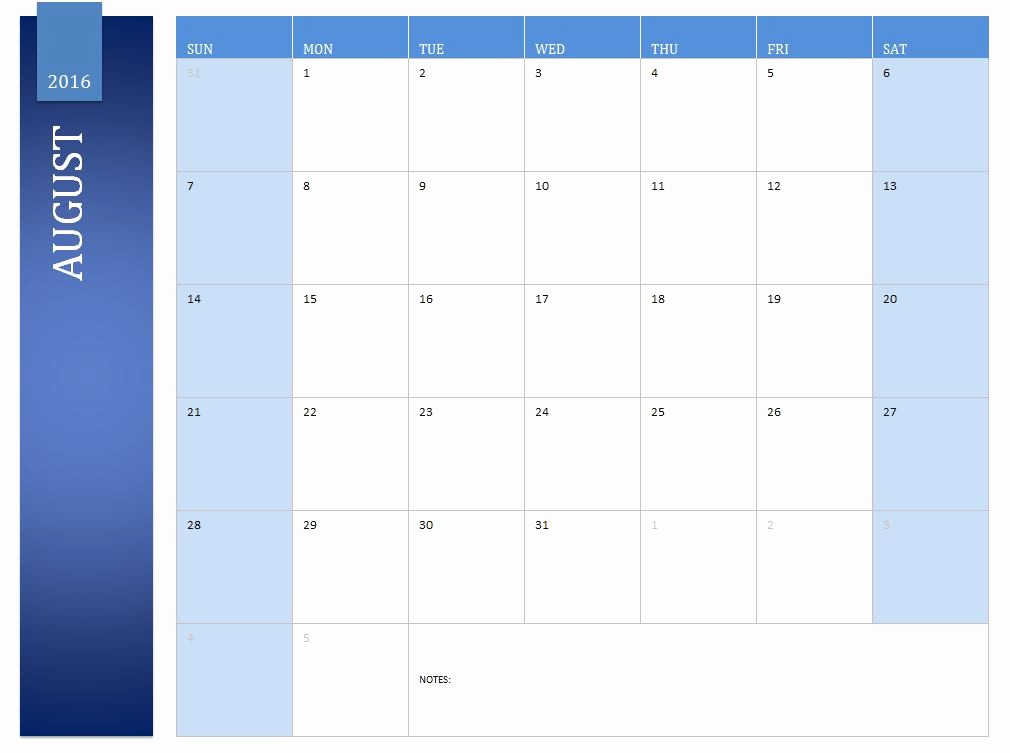 2016 Monthly Calendar Template Excel Lovely 2016 Calendar Template Excel to Pin On Pinterest