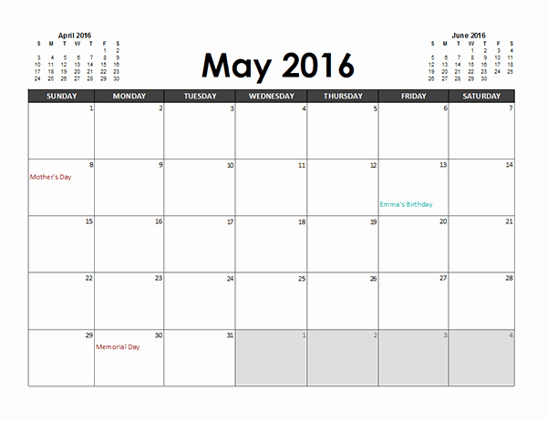 2016 Monthly Calendar Template Excel Lovely 2016 Excel Calendar Planner Free Printable Templates