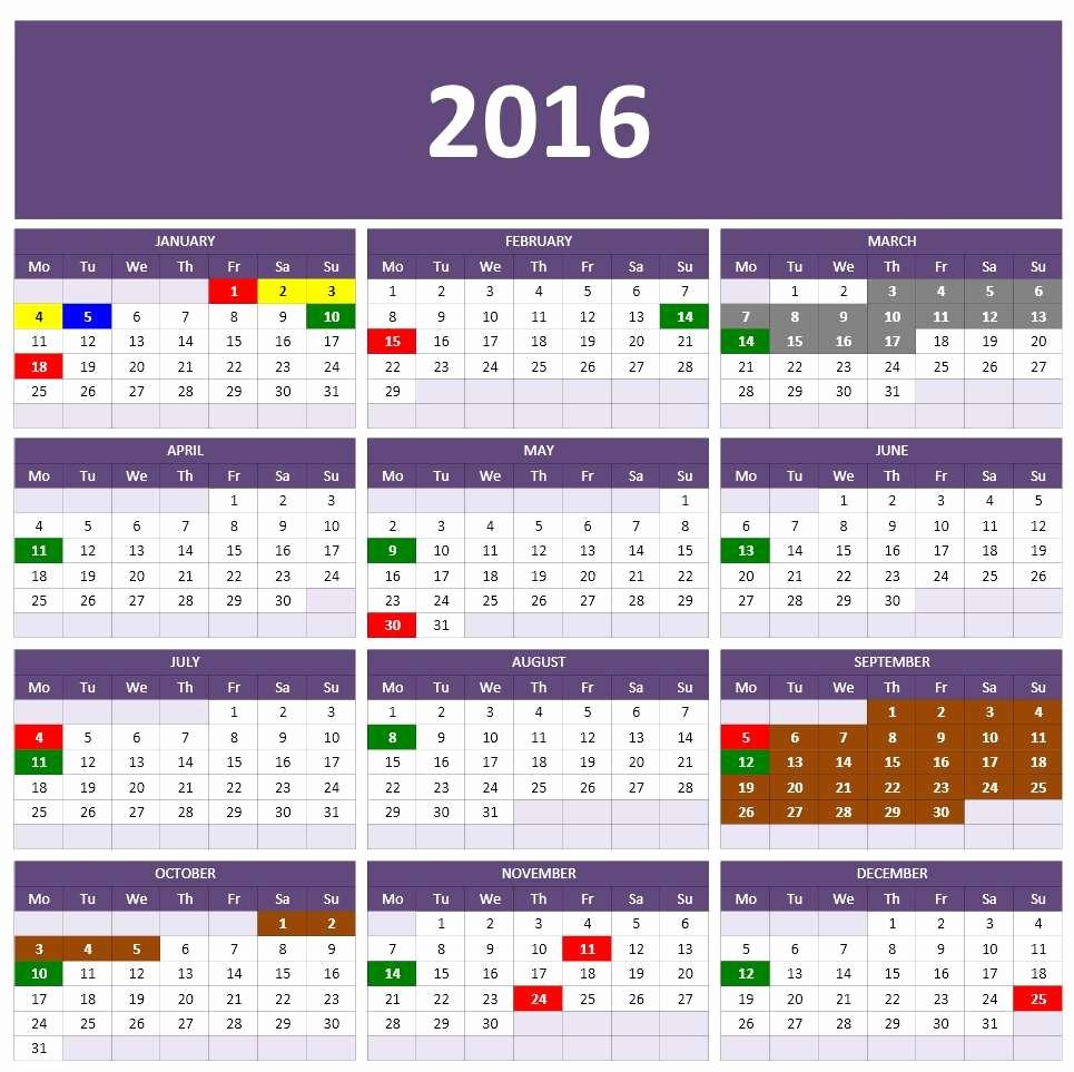 2016 Monthly Calendar Template Excel Luxury 2016 Calendar Templates