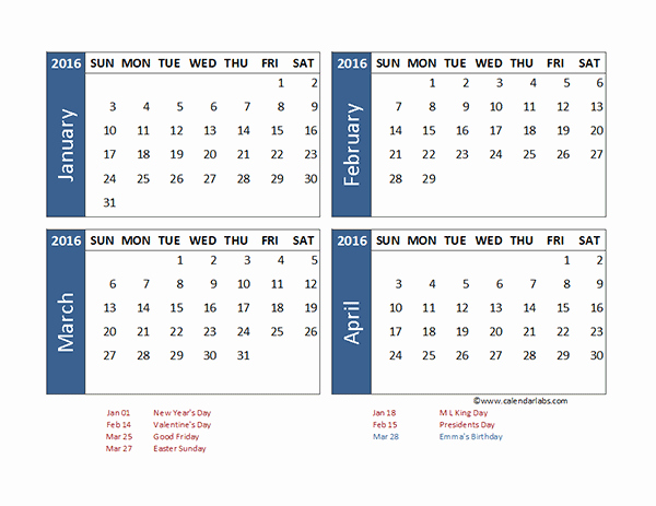 2016 Monthly Calendar Template Excel Luxury 2016 Excel 4 Month Calendar Template Free Printable