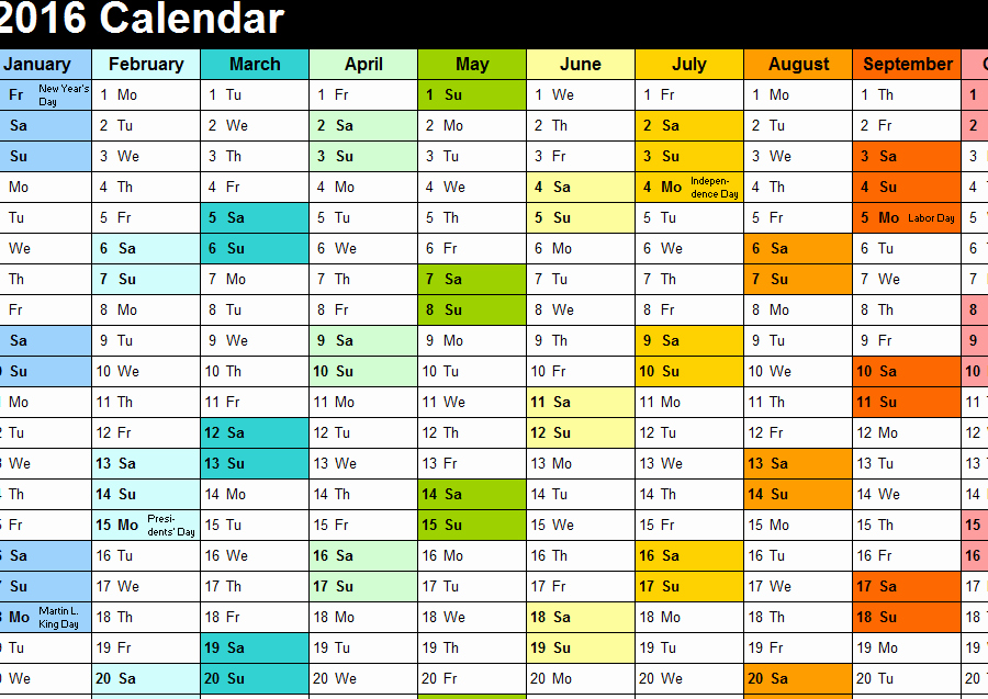 """2016 Monthly Calendar Template Excel Unique Search Results for """"2015 Employee Vacation Tracking"""