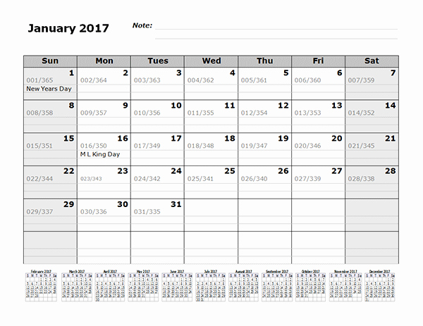 2017 12 Month Calendar Printable Fresh 2017 Monthly Julian Calendar 12 Months Bottom Free