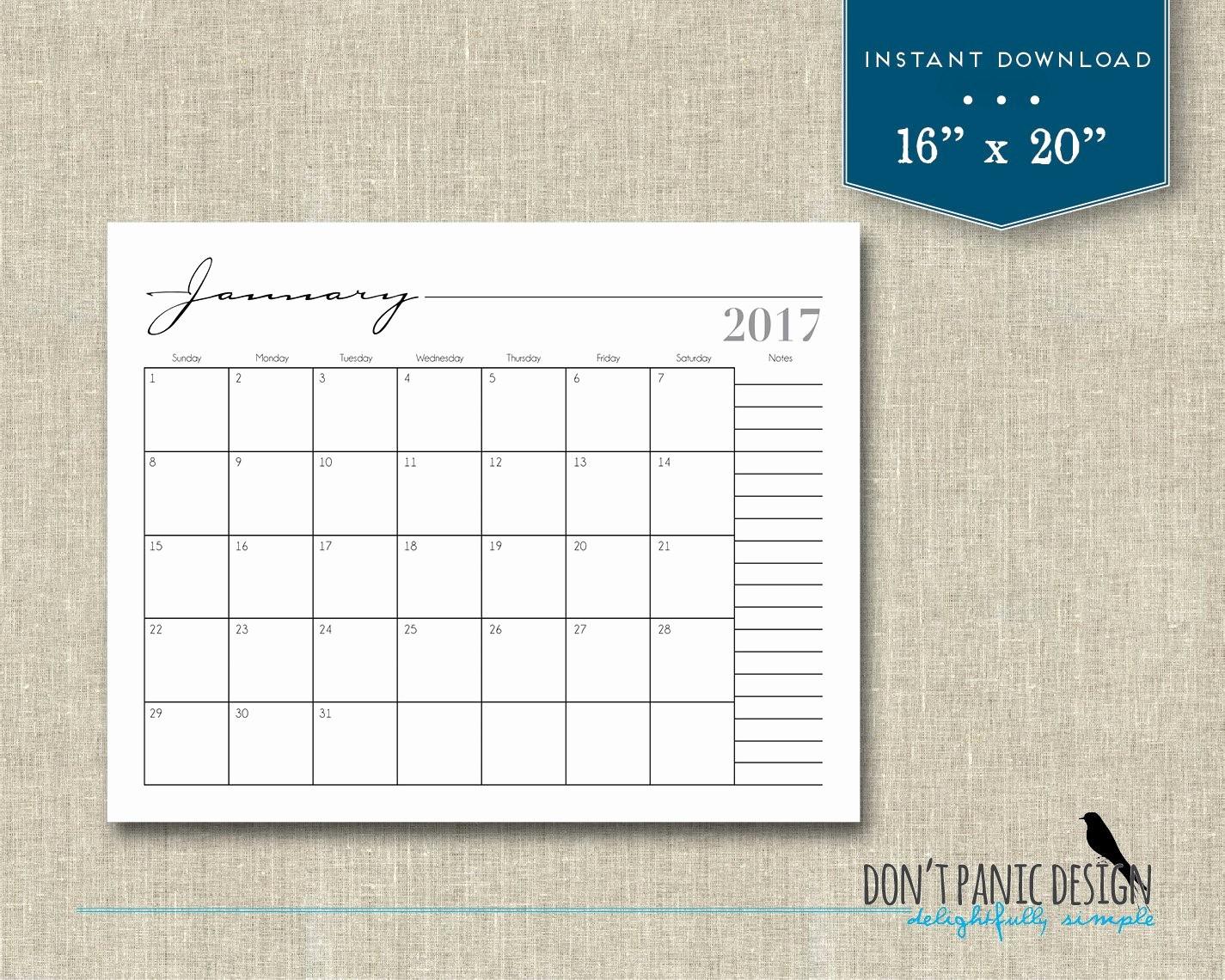 2017 12 Month Calendar Printable Fresh 2017 Printable 12 Month Wall Calendar 16 X