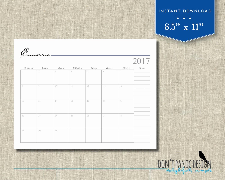 2017 12 Month Calendar Printable Fresh 2017 Printable 12 Month Wall Calendar by Dontpanicorganize