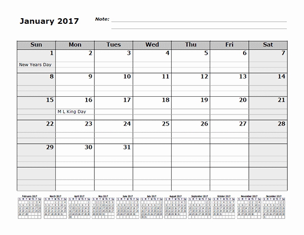 2017 12 Month Calendar Printable Inspirational 2017 Monthly Calendar Template with 12 Months References
