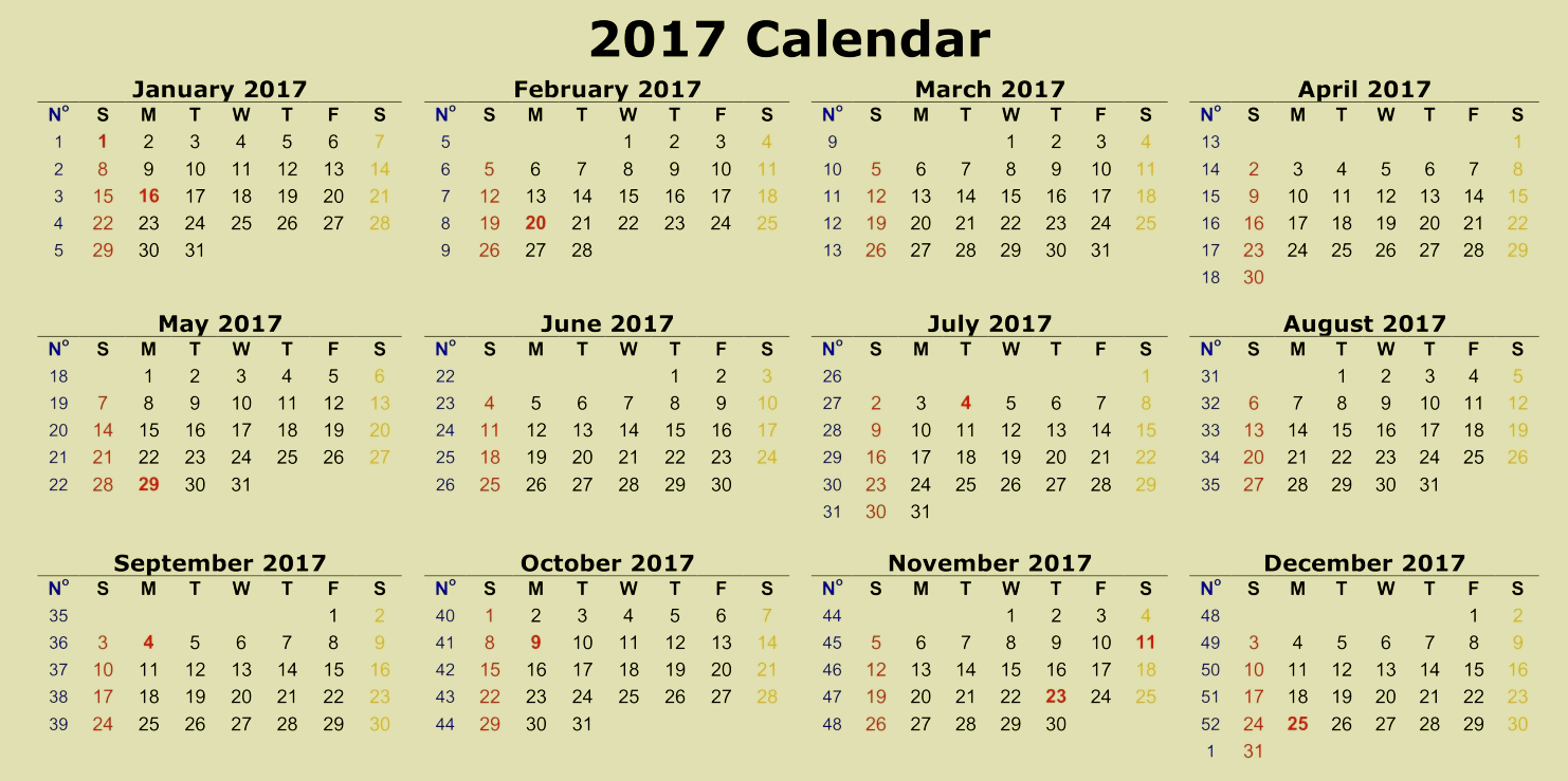 2017 12 Month Calendar Printable New 12 Month 2017 Calendar Printable Full Page to Pin
