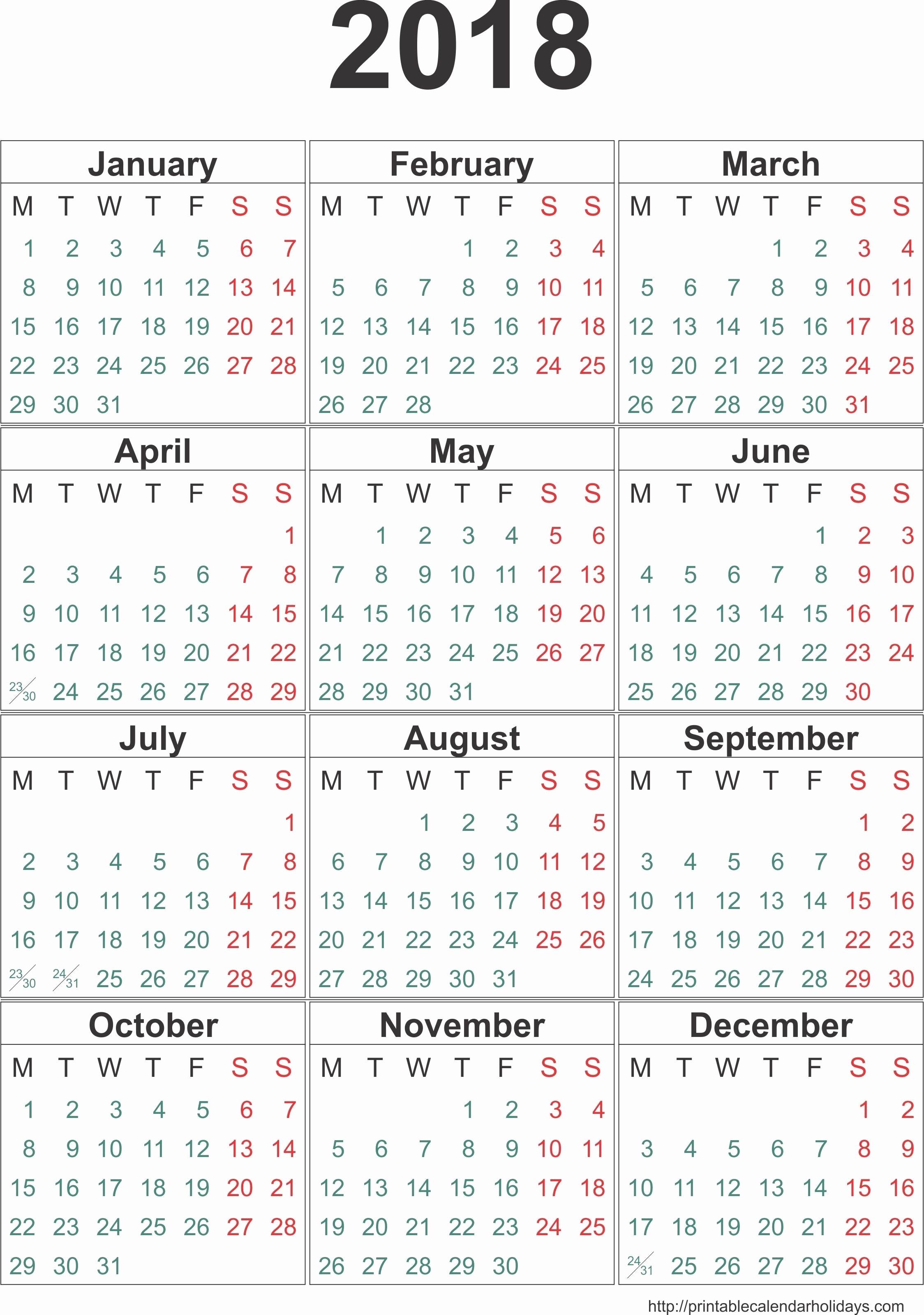 2017 12 Month Calendar Printable New 12 Month Calendar E Page 2018 – Calendar Printable