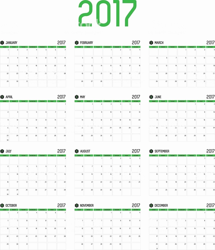 2017 12 Month Calendar Printable New Vector Calendar 2017 New Year 12 Month Calendar Set