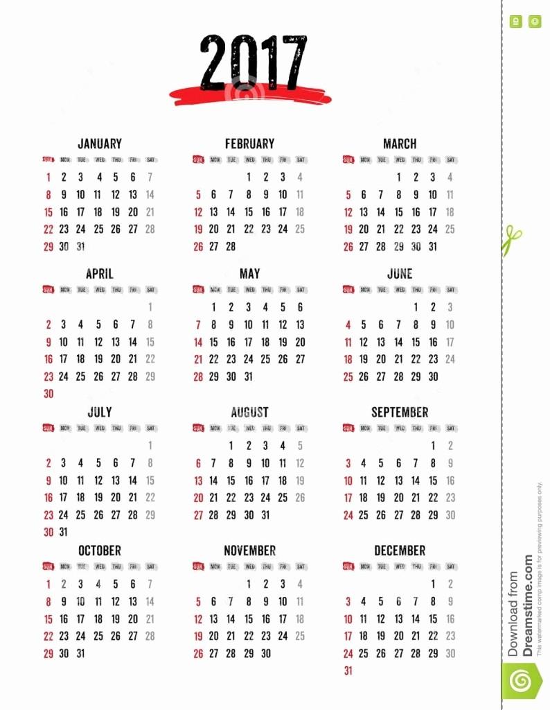 2017 12 Month Calendar Printable Unique 12 Month Calendar Template 2017