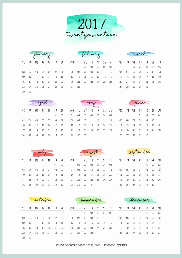 2017 12 Month Calendar Printable Unique Best 25 2017 Yearly Calendar Printable Ideas On Pinterest