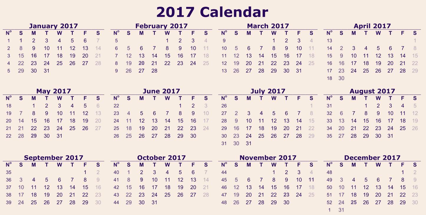 2017 12 Month Calendar Printable Unique Printable 2017 Calendar Of 12 Months