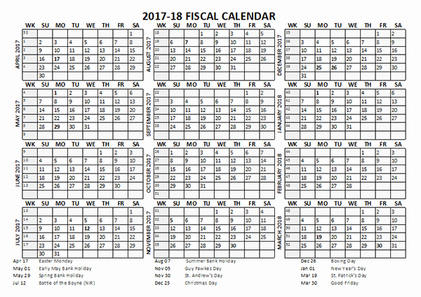 2017-18 Blank Calendar Beautiful 2017 Fiscal Calendar Template Starts at April Free