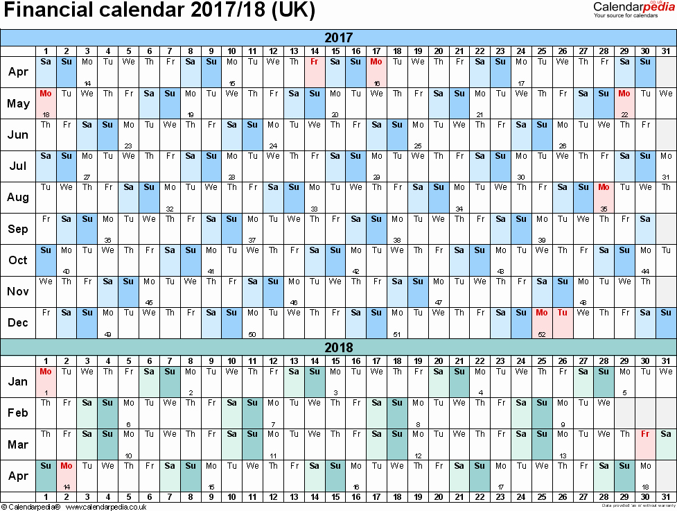 2017-18 Blank Calendar Beautiful Financial Calendars 2017 18 Uk In Pdf format