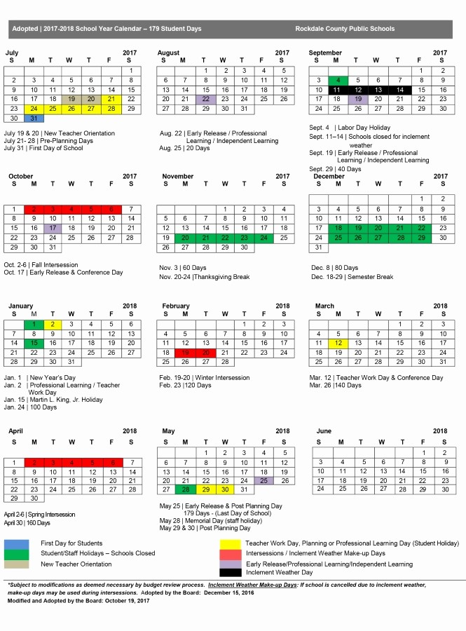 2017-18 Blank Calendar Best Of Modified 2017 18 Calendar Approved Make Up Days