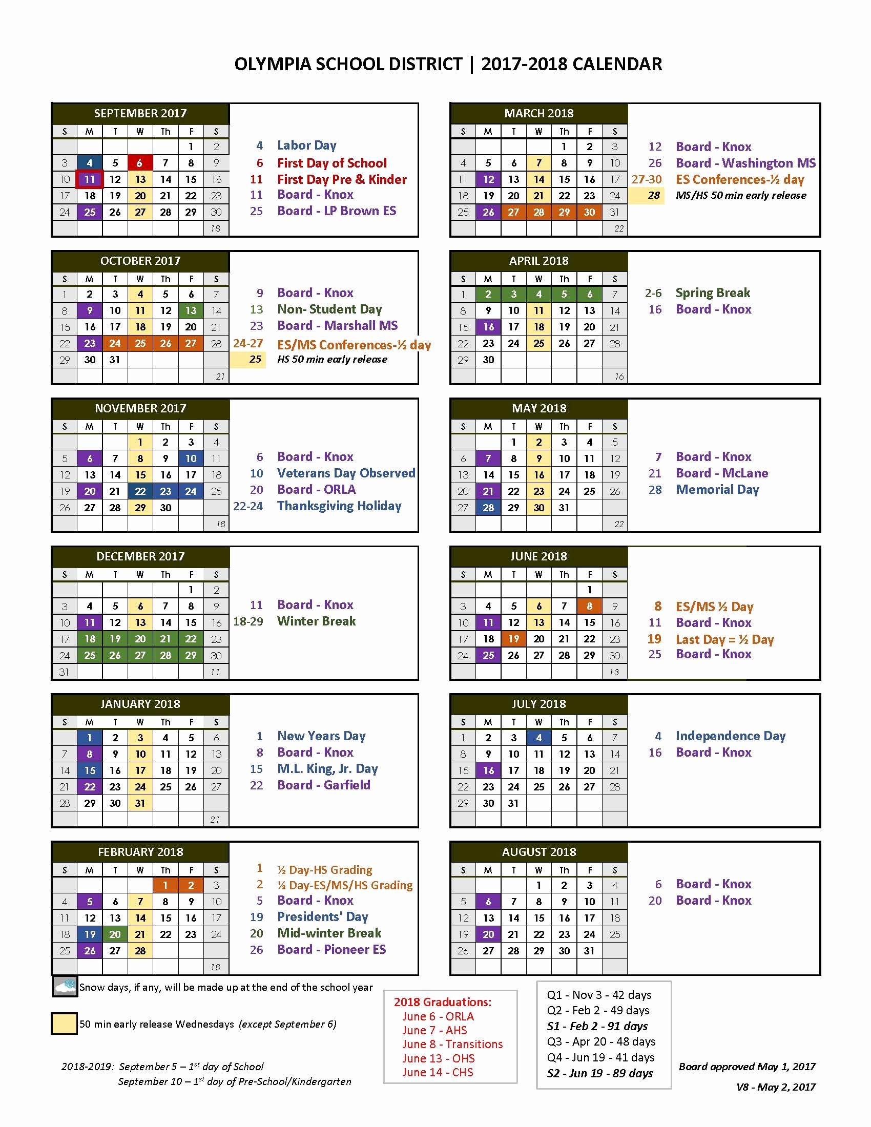 2017-18 Blank Calendar Elegant 2017 18 Calendar and Bell Times Posted On District Website
