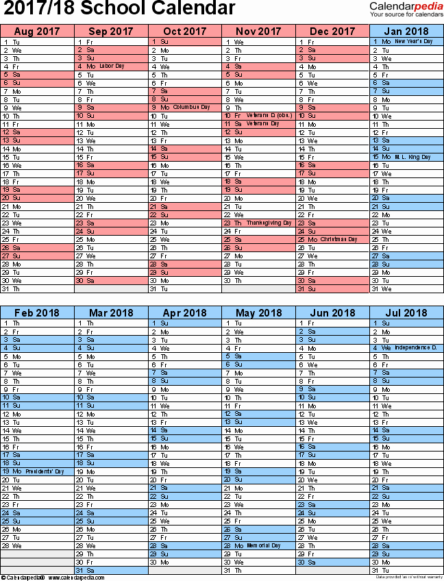 2017-18 Blank Calendar Elegant School Calendars 2017 2018 as Free Printable Pdf Templates