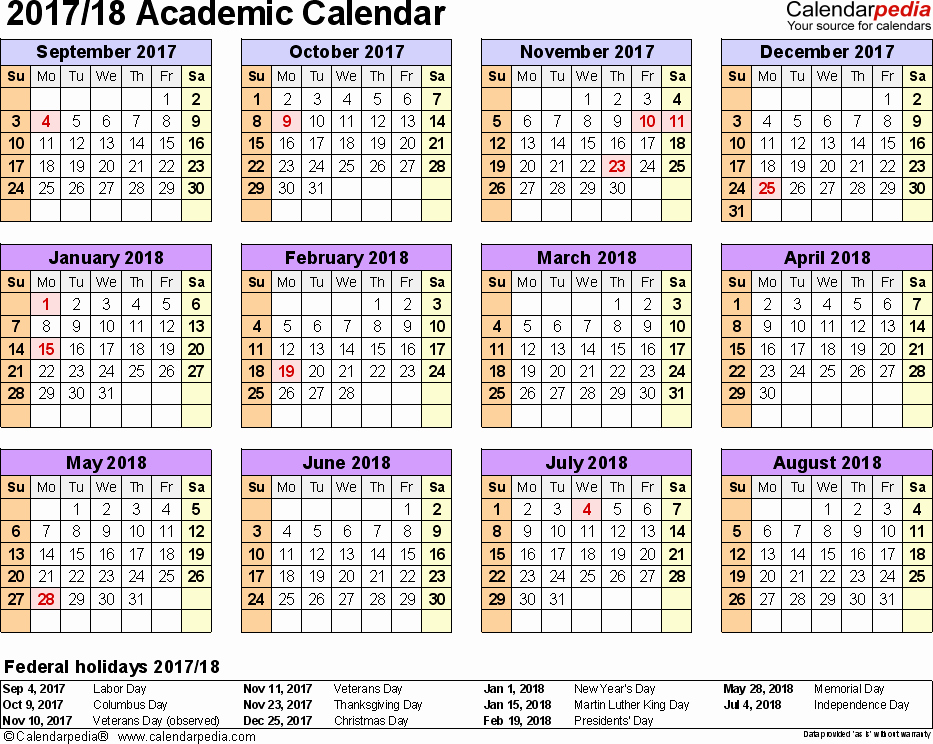 2017-18 Blank Calendar Fresh Academic Calendars 2017 2018 Free Printable Word Templates