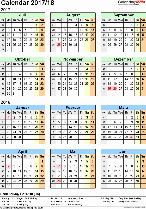 2017-18 Blank Calendar Inspirational Split Year Calendars 2017 18 July to June for Pdf Uk