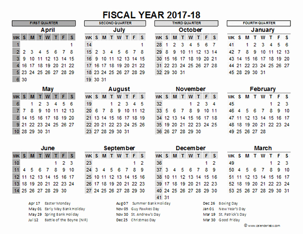 2017-18 Blank Calendar New 2017 2018 Fiscal Calendar Uk Template Free Printable