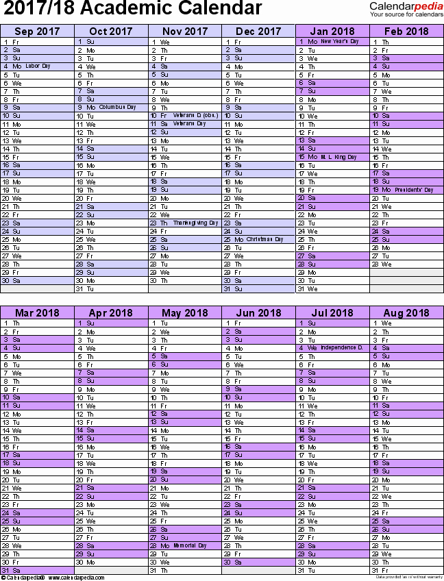 2017-18 Blank Calendar New Academic Calendars 2017 2018 Free Printable Word Templates