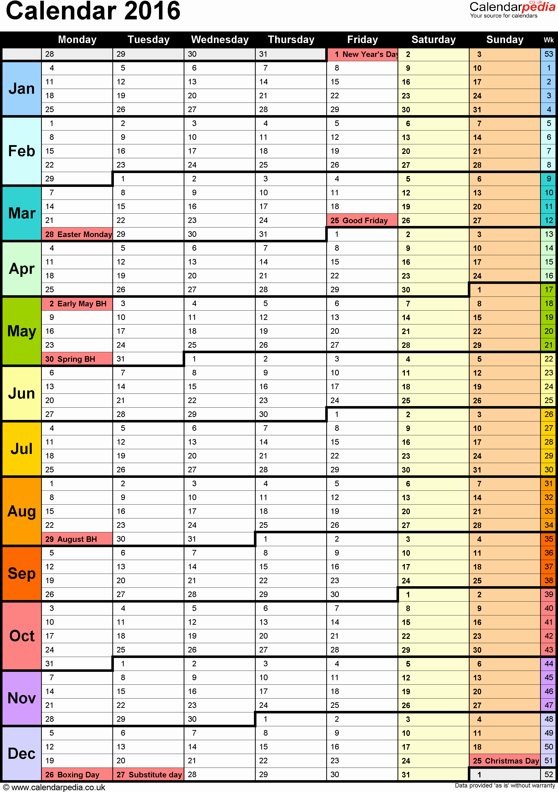 2017-18 Blank Calendar New Template 15 Yearly Calendar 2016 as Pdf Template