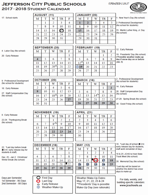 2017-18 Blank Calendar New Yearly District Calendar Printable 2017 18 Student