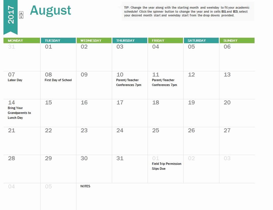 2017-18 Blank Calendar Unique 2017 18 School Calendar Template
