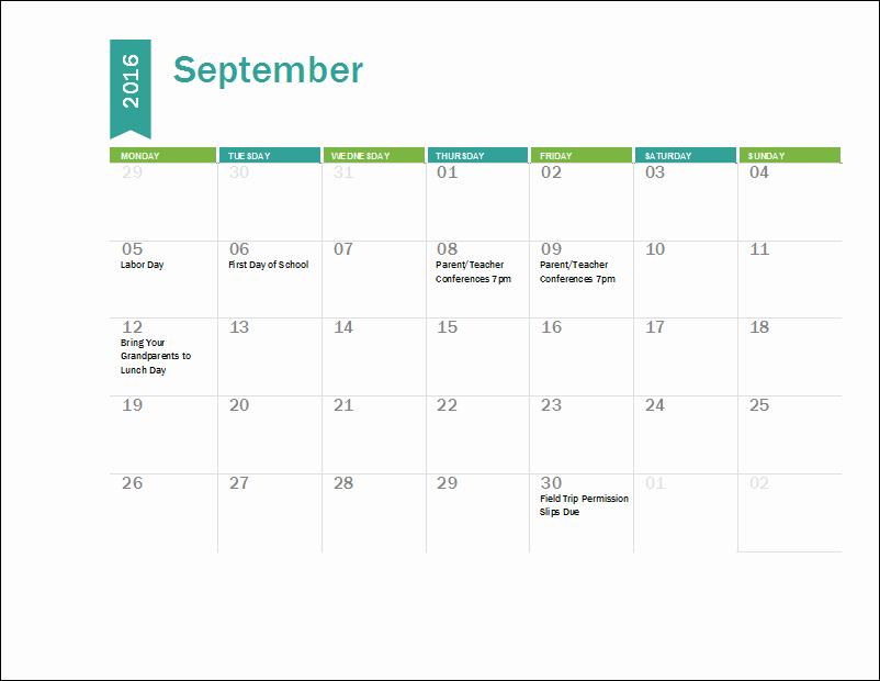 2017-18 Blank Calendar Unique Ms Excel Academic Calendar Template 2016 2017