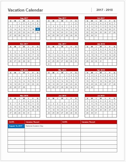 2017-18 Blank Calendar Unique Vacation Calendar Template 2017 18 for Ms Word