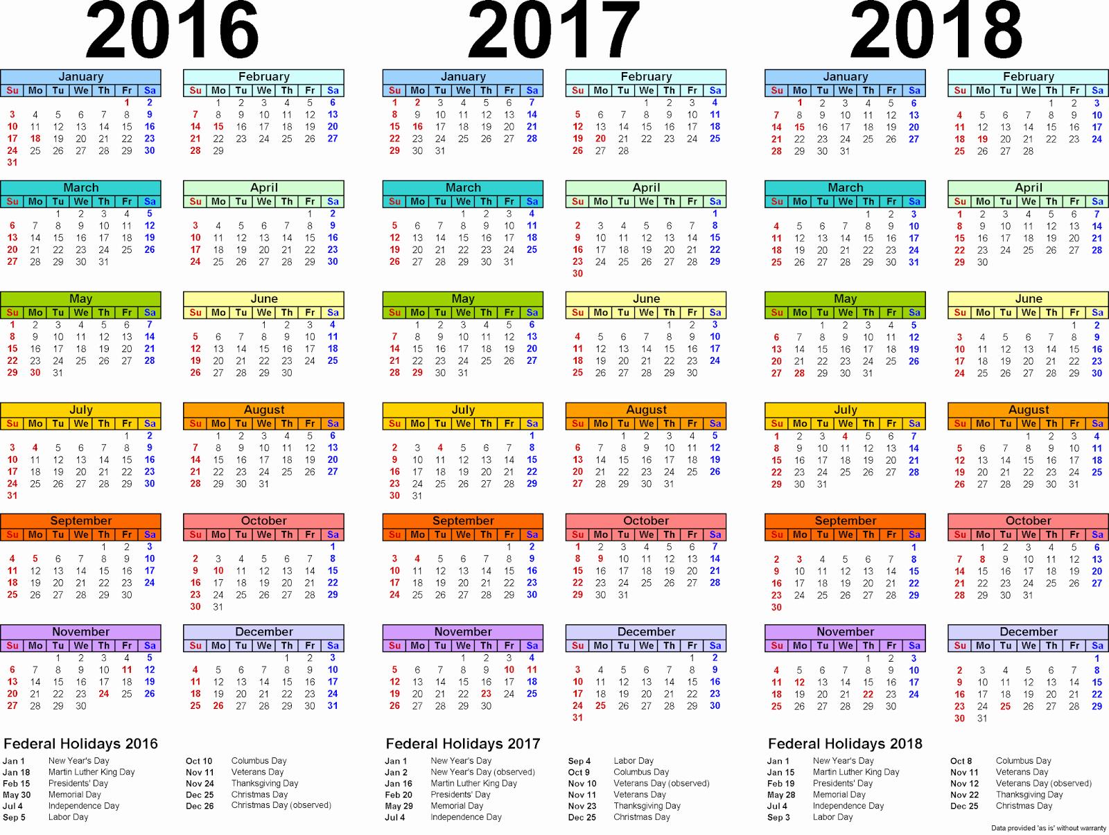 2017-2018 Blank Calendar Awesome 2016 2017 2018 Calendar 3 Year Printable