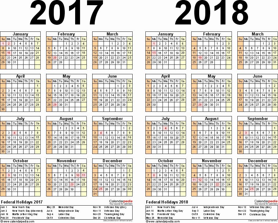 2017-2018 Blank Calendar Awesome 2017 2018 Calendar Free Printable Two Year Pdf Calendars