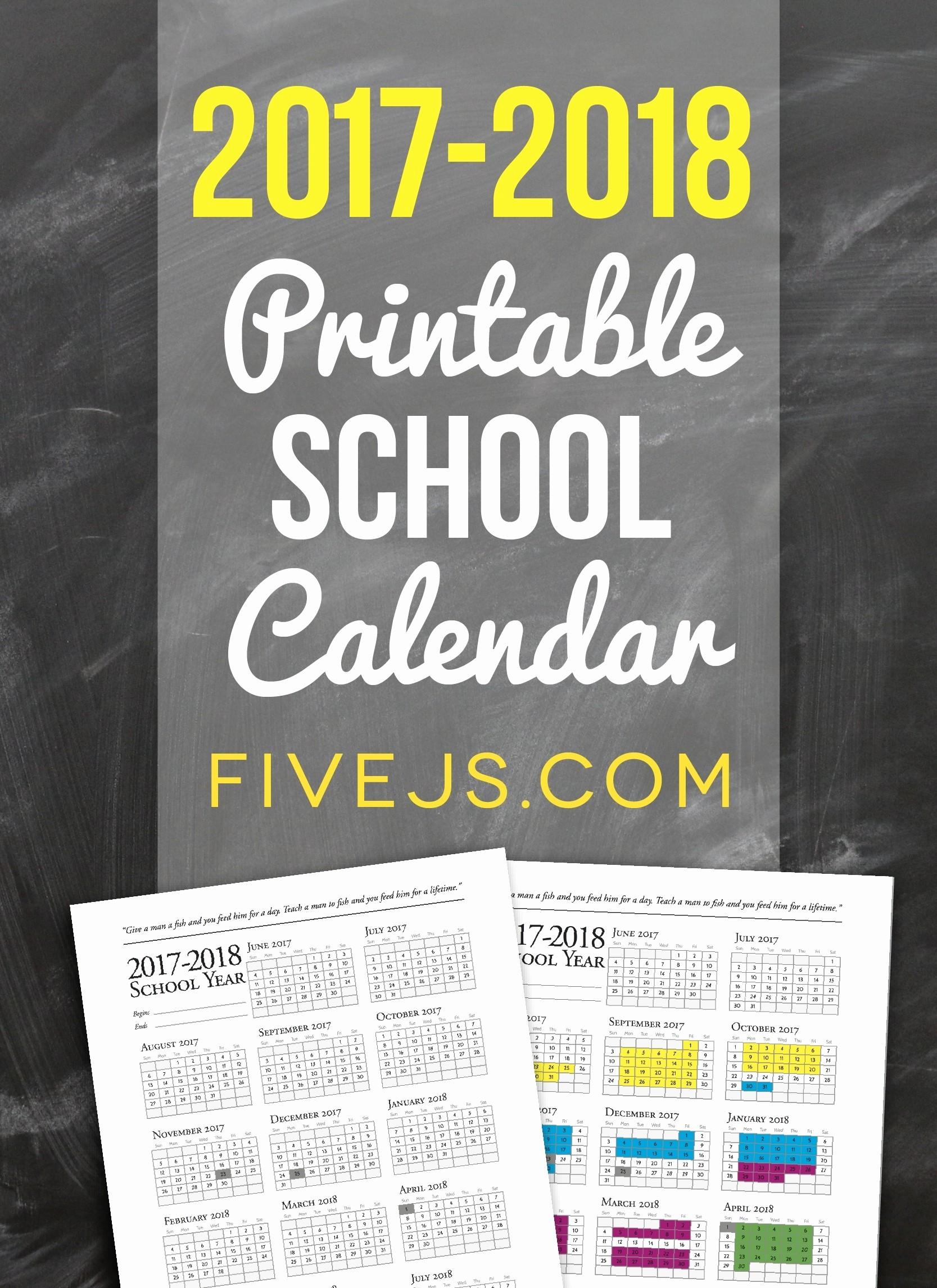 2017-2018 Blank Calendar Beautiful Free Printable School Calendar for 2017 2018 Five J S