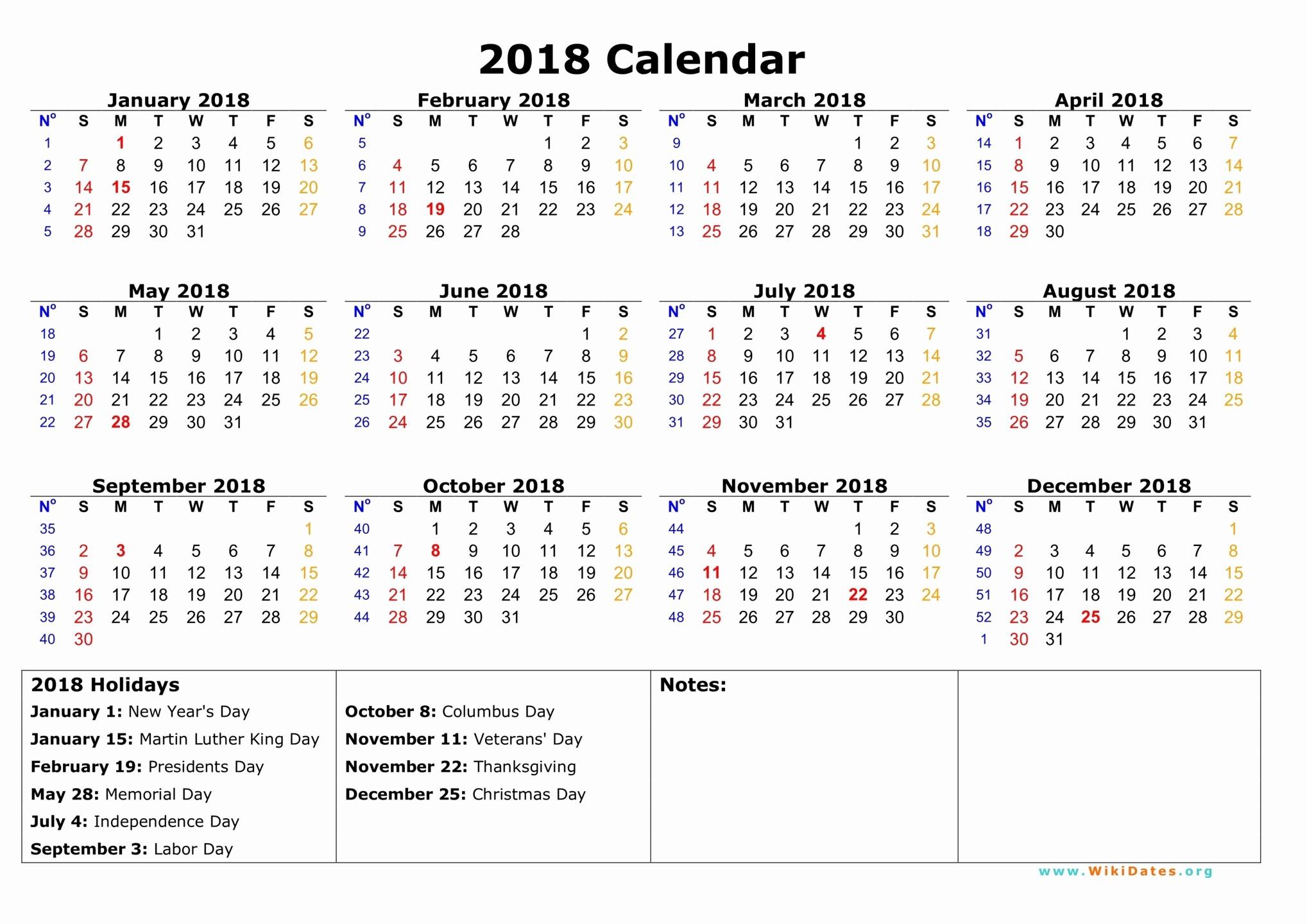 2017-2018 Blank Calendar Best Of 2018 Calendar with Holidays