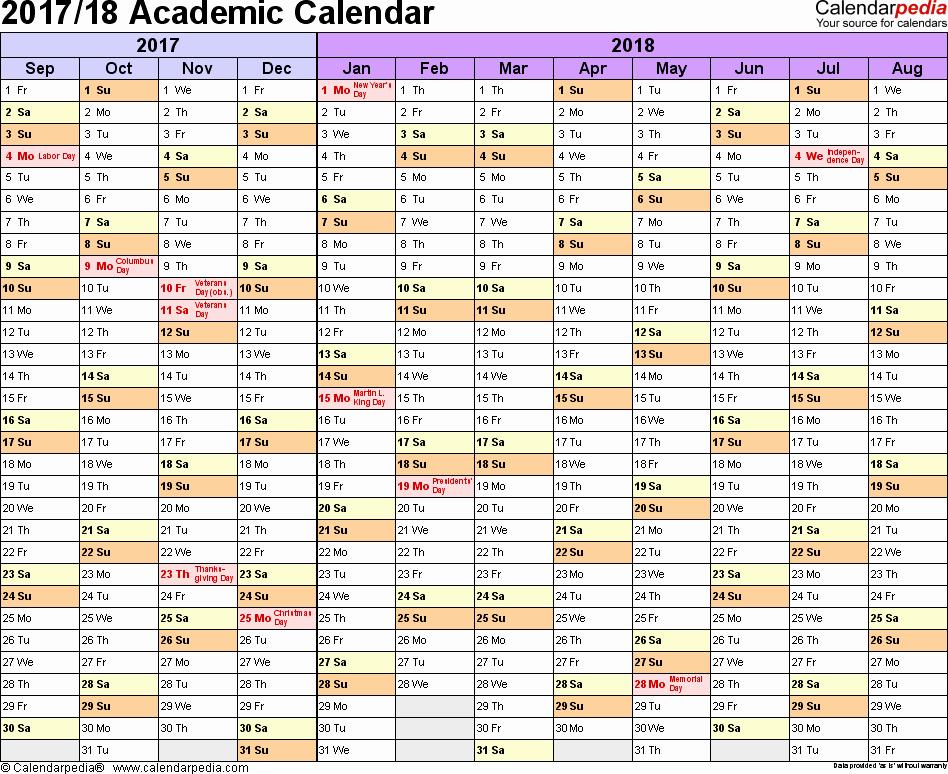2017-2018 Blank Calendar Elegant Academic Calendars 2017 2018 Free Printable Word Templates