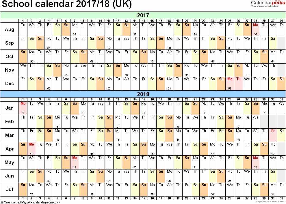 2017-2018 Blank Calendar Elegant School Calendars 2017 2018 as Free Printable Word Templates